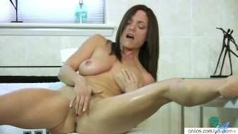 Busty Round Tit Milf Fingers Herself in Bathroom