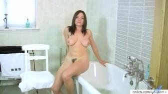 Busty Round Tit Milf Fingers Herself in Bathroom