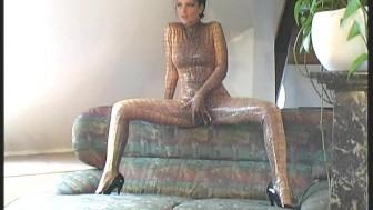 Flexible pornstar Angie in spandex