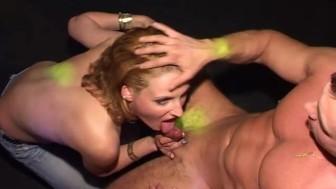 Care free women suck cock in public