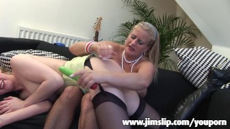 Cute girl is licking a mature pussy