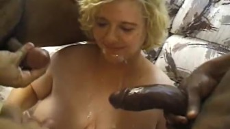 Busty blonde BBW anal fucked