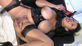 Busty Ethnic Milf Masturbates In Stockings