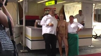 Spectacular public nudity with horny cutie