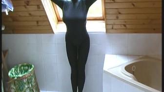 Big boob fetish girl taking a bath
