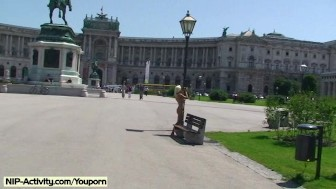 Naked german girl has fun in streets