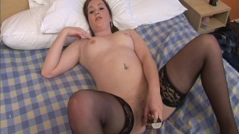 Shaved pussy and a rotating vibrator