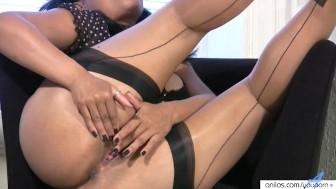 Big Tit milf in stockings fucks her mature pussy