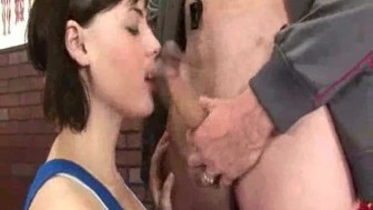 Cute brunette chick sucks and fucked