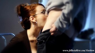 Appetizing Redhead Beauty With Glasses Blowjob
