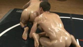 Two ripped studs wrestle, winner fucks loser