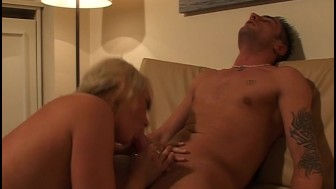 Giving her boyfriend a blow job