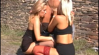Lucky stiff gets a blow job from two girls