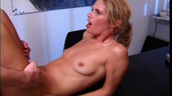 Secretary takes her bosses load all over her chest