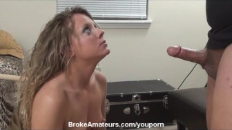 Real amateur girl creampie and cum swallow
