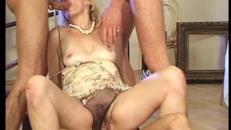 Old lady takes the opportunity to get some young cock(s)!! (Clip)