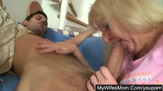 Blonde granny seduces son-in-law into hard sex