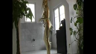 Slim Pornsar complete painted in golden color