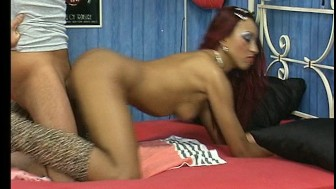 Redheaded black very hands and mouth on