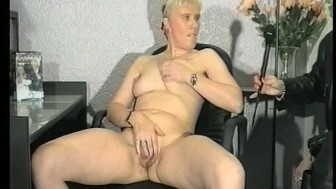 Blonde wears herself out by making herself cum