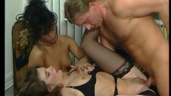 Two girls a guy and his cock in both (clip)