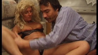 Man with a big dick screws a lady with a bad wig
