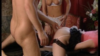 Two hot brunette maids get nailed by rocker dude. (Clip)