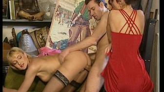 Guy with slicked hair and horrendous pink shirt nails 2 hotties in storage room