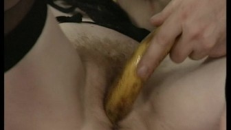 Planting bananas in twat while othere bathe