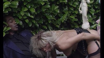 Hot blonde gets nailed by two guys on a park bench.