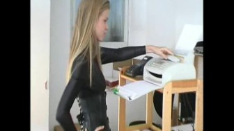 Office girl spreading pussy in lycra