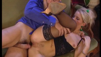MILF fucks two dudes at the same time