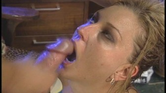 Jacking off into a hot blondes mouth