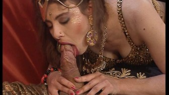 The sultan slides his staff into the hot brunette belly dancer.