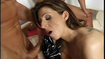 vinyl gloves help her works his thick cock