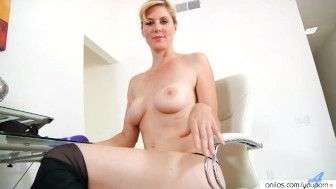 Shaved blonde milf dual dildo action
