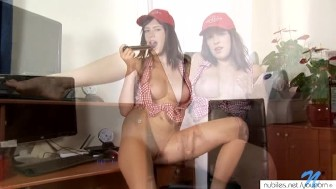 Perfect tits on horny girl