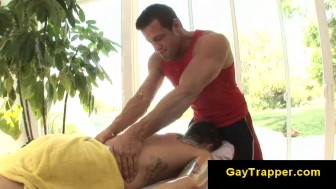 Gay bear gives massage for straight gay