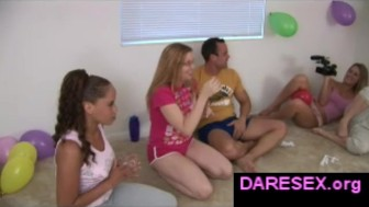 Amateur girls playing truth or dare game