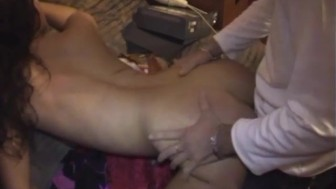 Squirting party girl fucked in back room