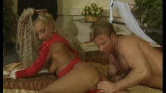 Tanned mature German woman with two guys