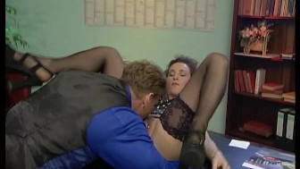 Mature German slut does two guys