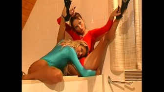 Lesbian flexible babes in nylon (clip)