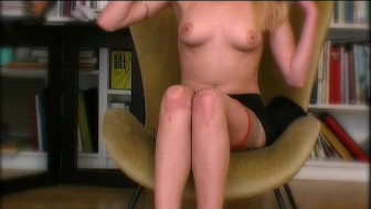 Cute pantyhose blonde rubs her nub