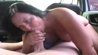 BBW having sex in a van