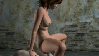 Animated girl with sexy ass riding a hard dick