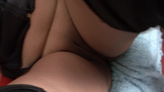 Mature chubby girl in a blindfold