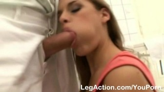 Foot spa attendant cleans gals cunt