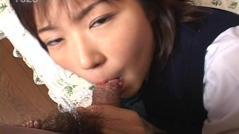 Cum in young Asian's mouth