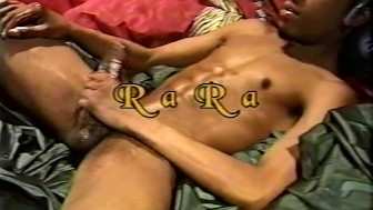 Ra Ra strokes his lubed cock